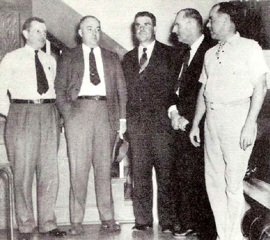 (Left to right) G. S. Personnel Director E. J. Turner, who ably officiated as master of ceremonies; Howard McCray; Secretary of the local A. B. C. Lew Buchy; local A. B. C.President Tom Canavan; and Edward Downey; Photo from The Delaware County Advocate, October 1940