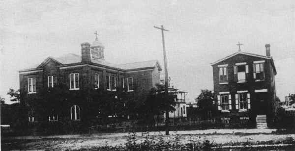 View of the original St. Hedwig's Church & School from 4th St. c. 1914; Photo from the church's 50th Anniversary book